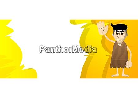 cartoon caveman with waving hand