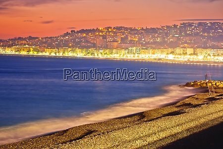 evening beach view of city of