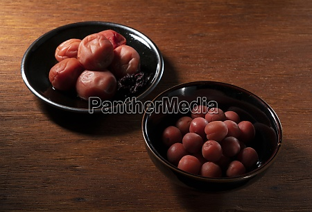 two types of japanese pickled plums