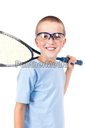 young squash player with protective glasses