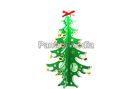 small decorated christmas tree isolated on