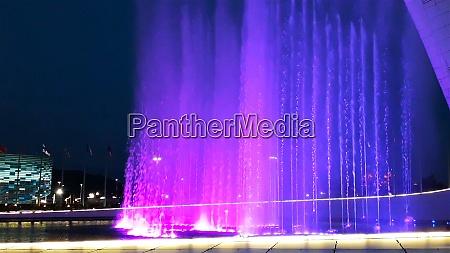 beautiful bright fountain with illumination and