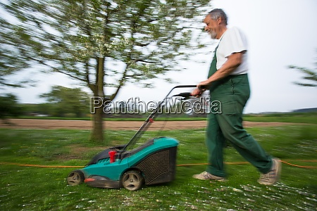 gardener mowing the lawn motion