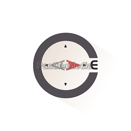 east direction compass isolated color icon