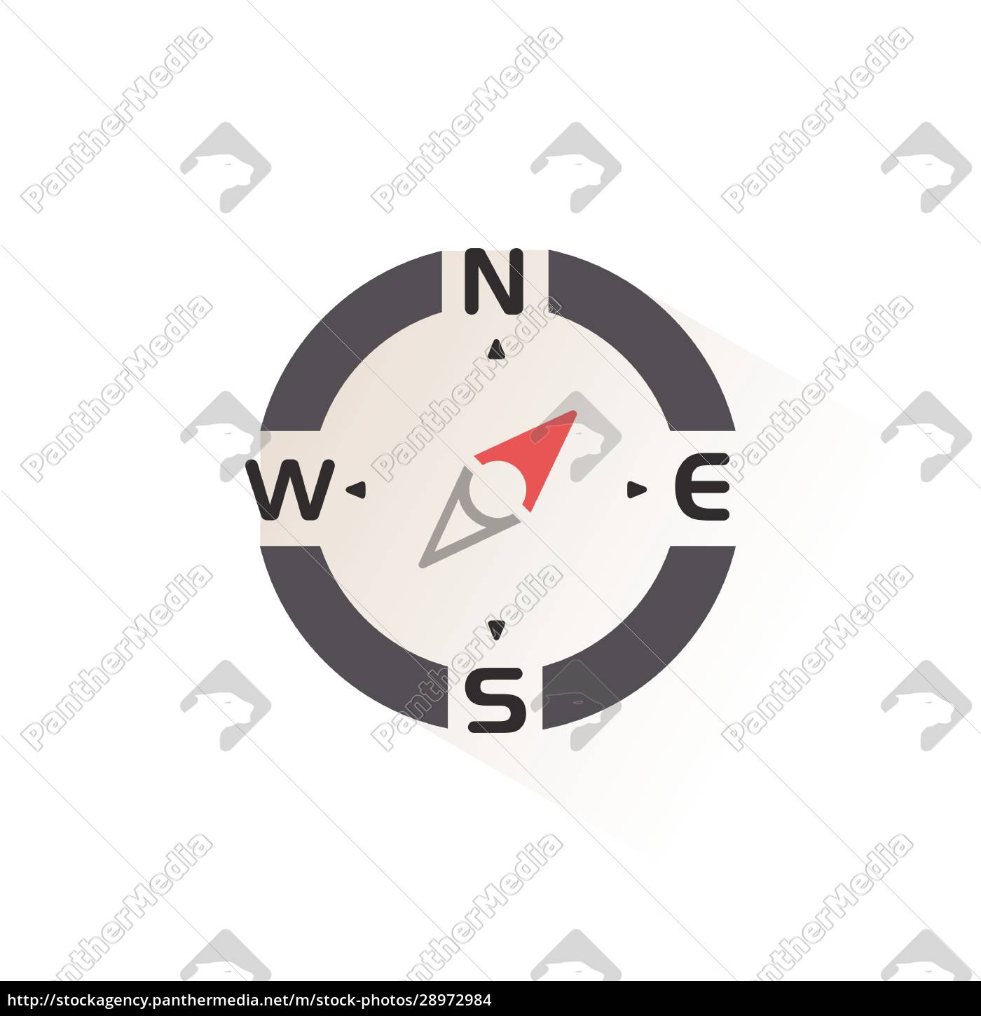compass., north, east, direction., isolated, color - 28972984