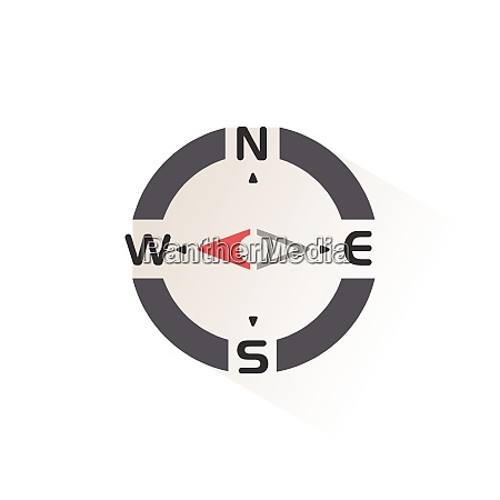 compass., west, direction., isolated, color, icon. - 28972989