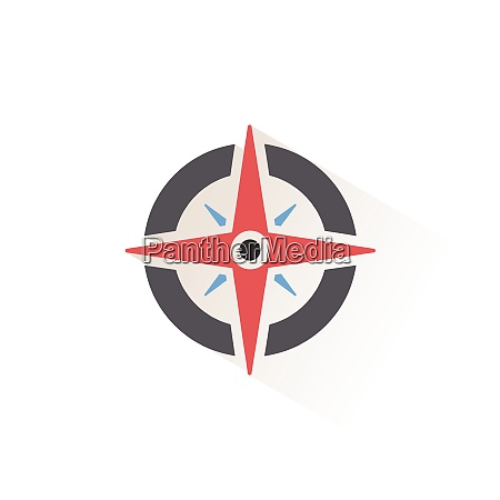 wind rose sign isolated color icon