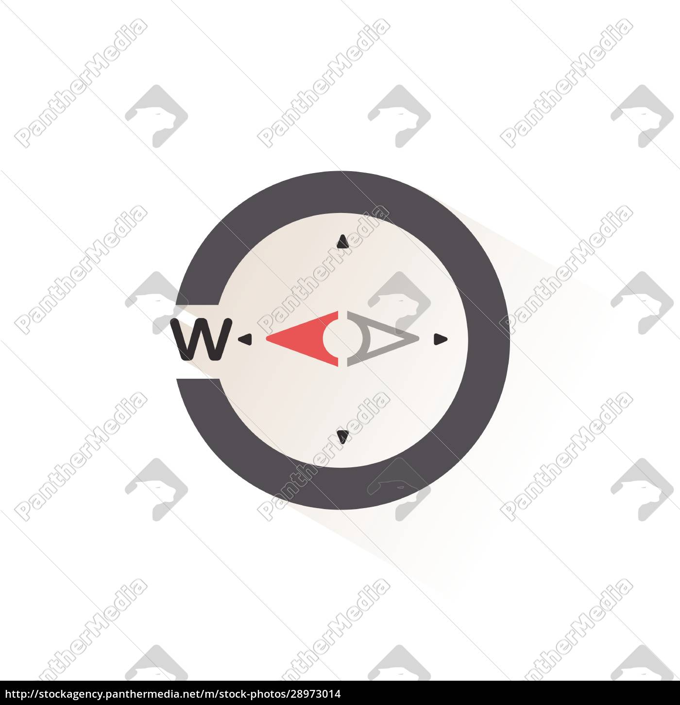 west, direction., compass., isolated, color, icon. - 28973014