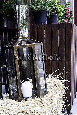 black lantern with aroma candle decoration