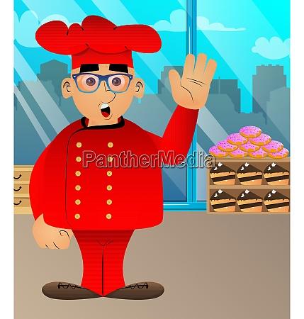 fat male cartoon chef in uniform