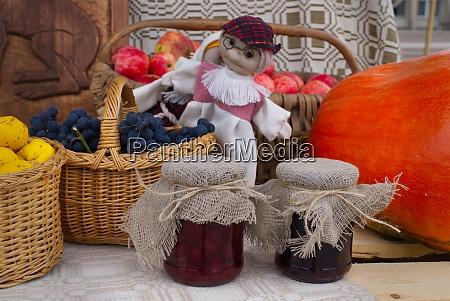 autumn still life with produce jam