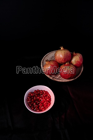 pomegranate close up with seeds in