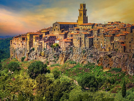medieval town of pitigliano at sunset