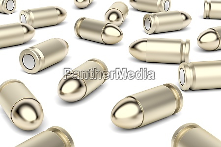 many bullets on white background