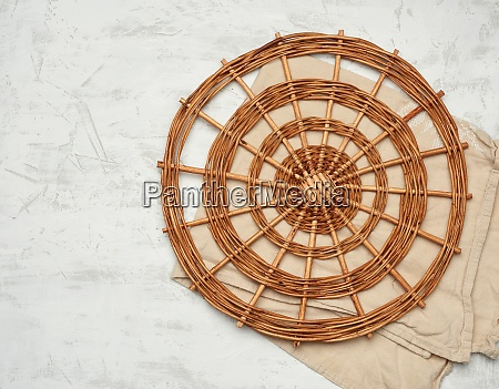 wicker round vintage dish rack on