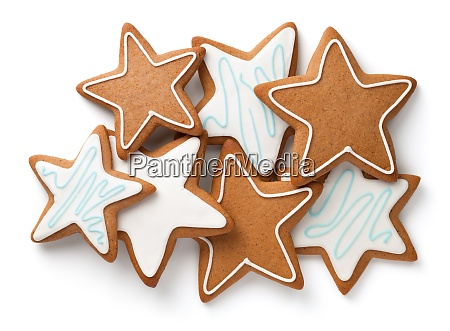 composition of gingerbread stars isolated on