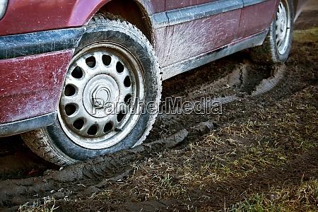 car tires in dirt