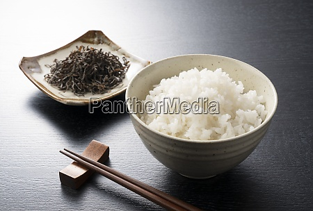 white rice and salted kelp