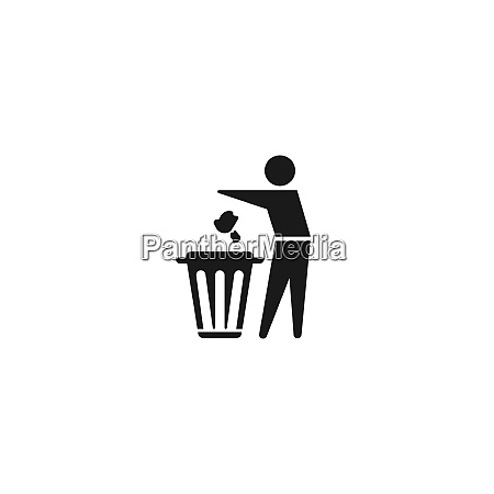 trash and man icon vector