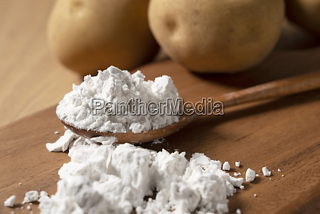 potatoes and potatoes and a wooden