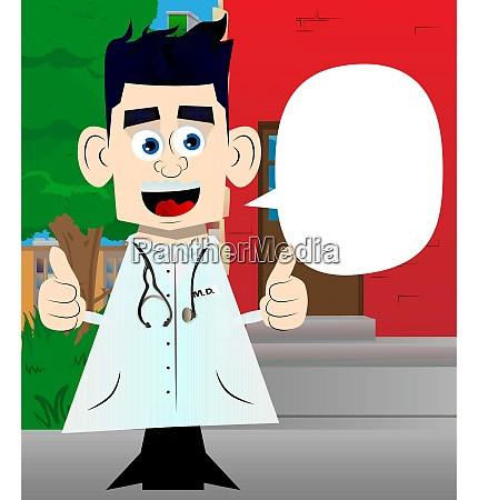 doctor making thumbs up sign with