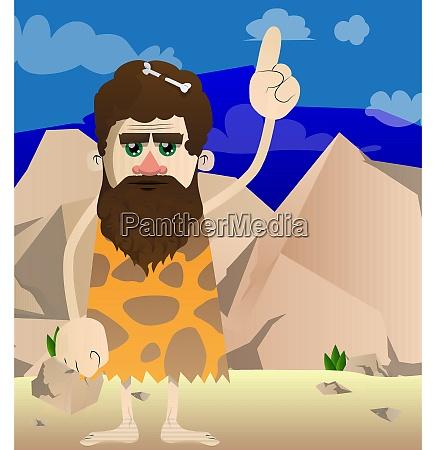 cartoon caveman making a point