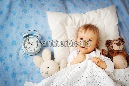 one year old baby with alarm