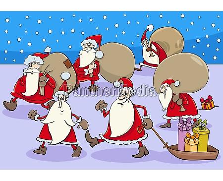 comic santa claus cartoon characters group