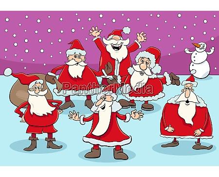 happy santa claus cartoon characters group
