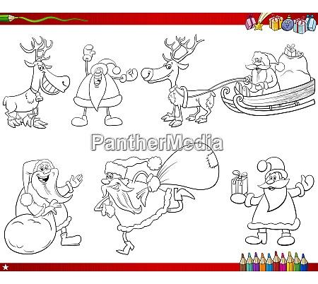 santa claus characters set coloring book