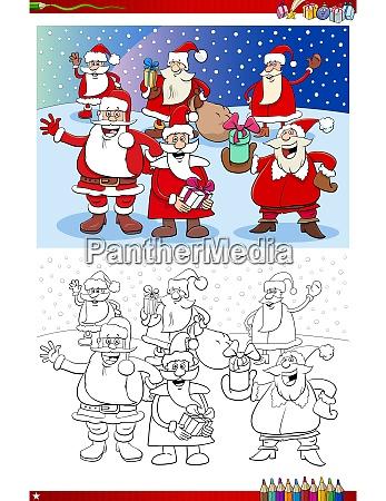 santa claus christmas characters group coloring