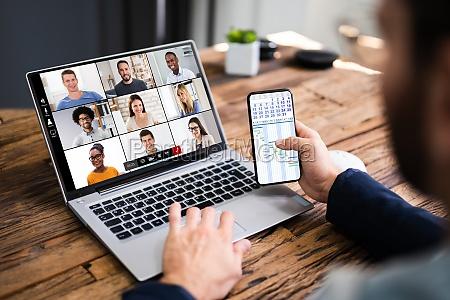 watching video conference webinar meeting