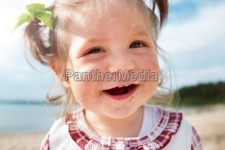 funny little girl shouting at the