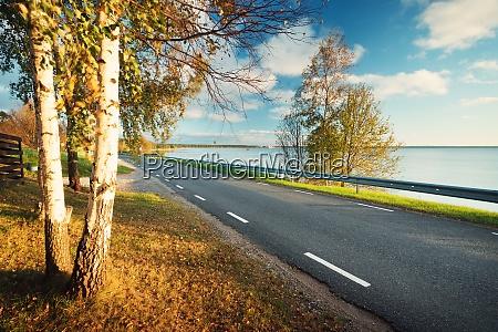 asphalt road with moving car