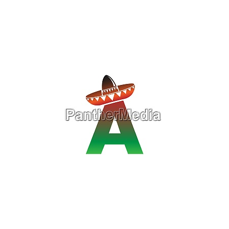 letter a mexican hat concept design
