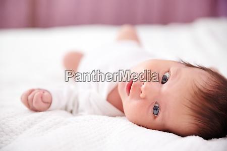 cute newborn baby girl lying in