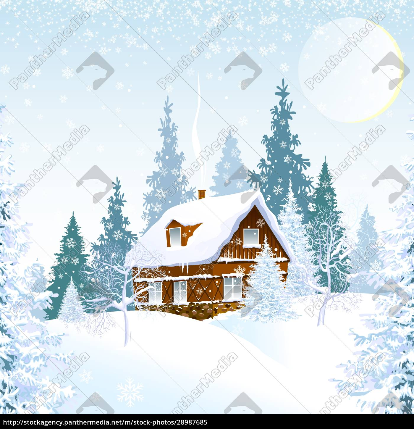 small, house, in, a, beautiful, winter - 28987685