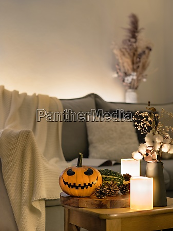 cozy scandinavian style halloween interior