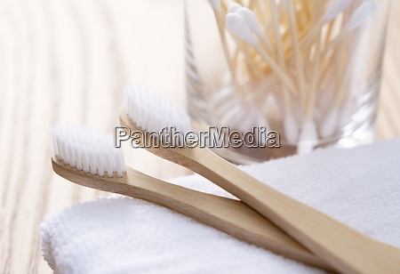bamboo toothbrush and bamboo cotton swabs