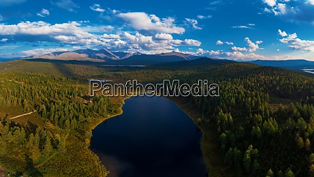 aerial drone view of the lake