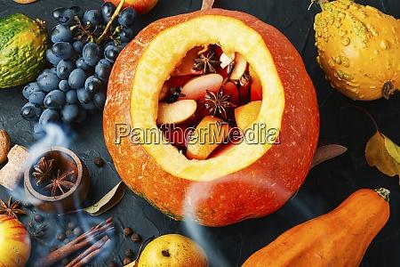 mulled wine in pumpkin