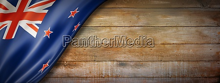 new zealand flag on vintage wood