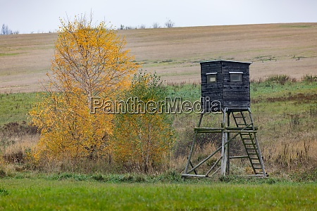 wooden hunters high seat hunting tower