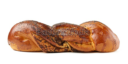 baked wicker bun with poppy seeds