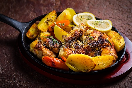 baked lemon chicken with potatoes carrots