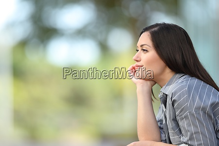 woman meditating looking away in the