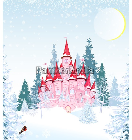 princess, castle, in, winter, forest - 28993522
