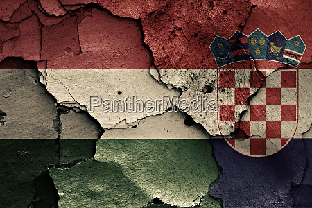 flags of hungary and croatia painted
