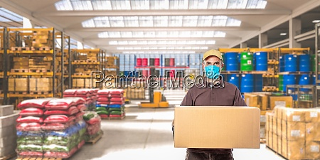 man with mask and parcel interior