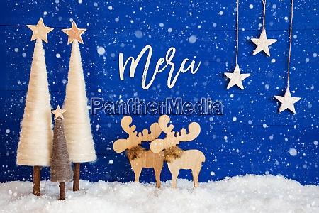 christmas tree moose snow star merci